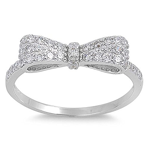 925 Sterling Silver Ribbon Bow Ring Cute Round pave Clear CZ Ring