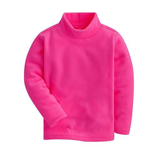 Kids Little Girls Boys Cotton Polar Fleece Basic T-Shirt Tops Tutleneck Long Sleeve Blouse ()