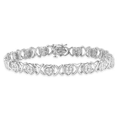 (Original Classics Sterling Silver Rose Cut Diamond Heart and X-Link Tennis Bracelet (1 cttw, I-J Color, I2-I3 Clarity))