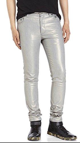 ANN DEMEULEMEESTER Trousers Glimmer Silver/Gold Iridescent Skinny Jean - Men Ann Demeulemeester