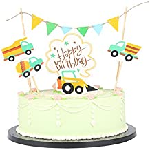 LXZS-BH Coloful Car and banner happy birthday cake topper,Birthday Party Decorations Set Of 5