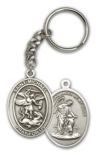 Antique Silver Tone St. Michael the Archangel Keychain (Lord Of The Rings Shoes)