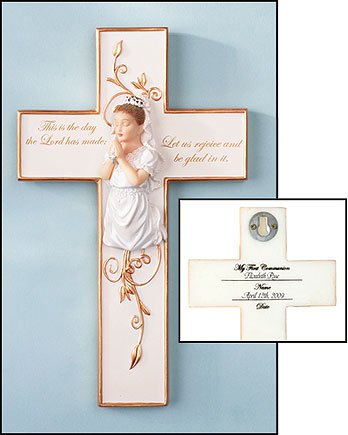 First Communion Praying Boy or Girl Figure Wall Cross (Girl) Free First Communion Prayer Card Blessed By His Holiness
