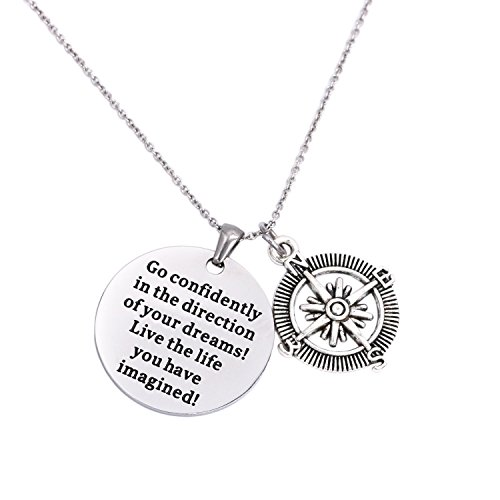 (LParkin 2019 College Graduation Gifts Go Confidently in The Direction of Your Dreams Necklace, Stainless Steel)