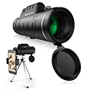 #LightningDeal Monocular Telescope, 40X60 High Power HD Monocular with Smartphone Holder & Tripod - [Upgrade] Waterproof Monocular with Durable and Clear FMC BAK4 Prism Dual Focus for Bird Watching, Camping, Hiking