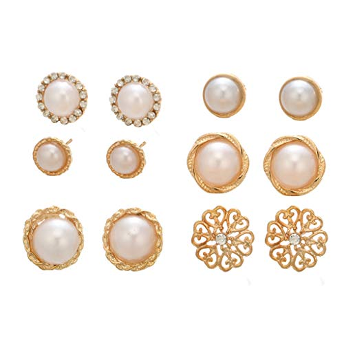 6 Pairs of Round Pearl Stud Ear Exquisite Diamond Flower Women Earrings Jewelry Gift (Multicolor)