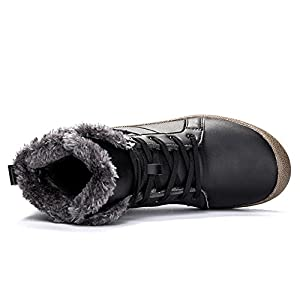 YIRUIYA Waterproof Hight Top Fur Lining Winter Shoe for Men