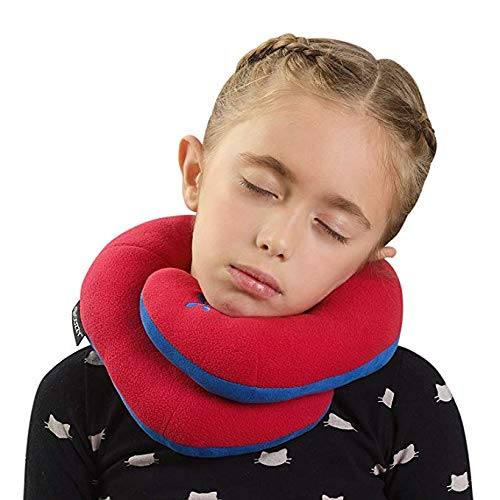 BCOZZY Chin Supporting Travel Pillow - Supports The Head, Neck and Chin in in Any Sitting Position. A Patented Product. (RED, Child) by BCOZZY (Image #2)