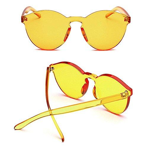 bordes talla de sin sol caramelo Pawaca Amarillo tintado grande mujer pieza una para Gafas color fqxwXv