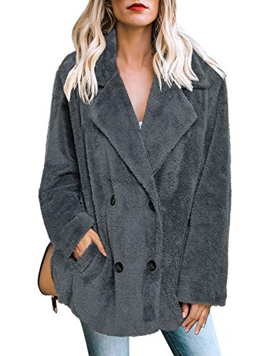 Vetinee Women's Casual Fleece Fuzzy Coats Oversized Lapel Button Outwear Jackets Pockets Dark Grey Size X-Large (US 16-18) (Button Fur Front Jacket)