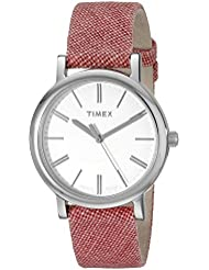 Timex Womens TW2P63600AB Originals Silver-Tone Watch with Red Leather-Lined Cloth Band