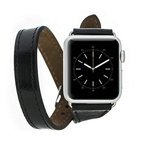 Apple Watch 3 Series 38mm Slim Double Tour BlueJay Genuine Handmade Premium Luxury Leather Replacement Strap, Band Compatible With Apple Watch Series 1 & 2 (Black) by Blue Jay