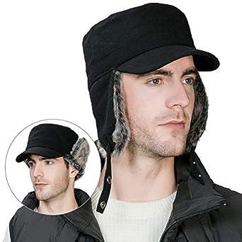 6df32e921de Winter Faux Fur Earflap Trapper Hunting Hat for Men Black Baseball Cap  Military Army Flat Hat