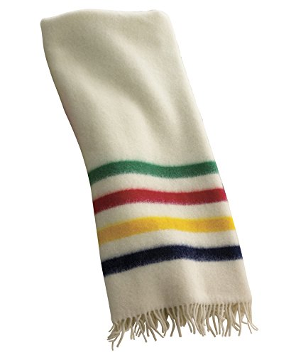 (Hudson Bay Capote Throw Natural with Multi Stripes)