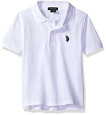U.S. Polo Assn.. Little Boys' Toddler Short Sleeve Pique Polo Shirt, White/Marina Blue, 2T