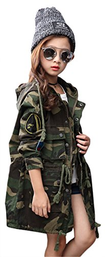 Girls Overcoat - EGELEXY Little Girl Camouflage Embroidery Length Zipper Button Down Overcoat with Packet size 120/6-7 Years (Camouflage)