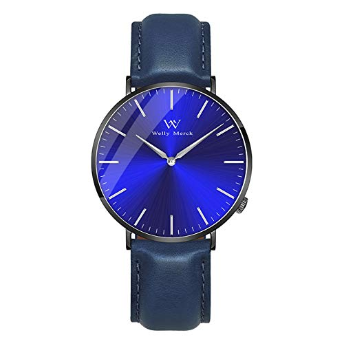 (Welly Merck Men's Luxury Watch Minimalistic Design Quartz Movement Sapphire Crystal Analog Wrist Watch with 20mm Italy Genuine Leather Interchangeable Blue Strap 5ATM Water Resistant (Black))