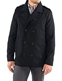 Jake Mens Wool Pea Coat Double Breasted Jacket