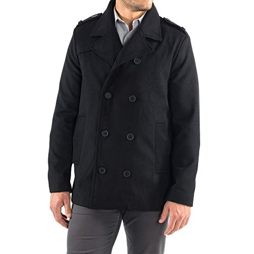 Alpine Swiss Jake Mens Wool Pea Coat Double Breasted Jacket Black 2XL