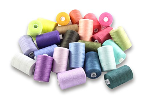 SEWING AID All Purpose Polyester Thread for Hand Stitching and Sewing Machine, Set of 24 Spools in Assorted Colors, 1000 Yards Each