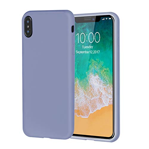 iPhone Xs Case,iPhone X Case,Soft Silicone Gel Rubber Case with Tempered Glass Screen Protector Microfiber Lining Cushion Full-Body Protective Case for iPhone Xs,iPhone X (Lavender Gray) ()