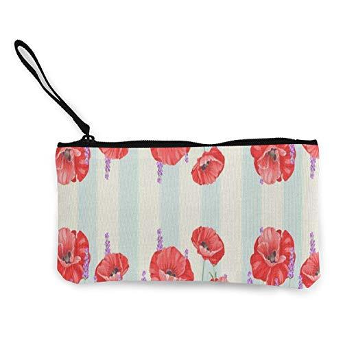 Canvas Coin Purse Poppy Flowers Floral Customs Zipper Pouch Wallet Cash Bank Car Passport