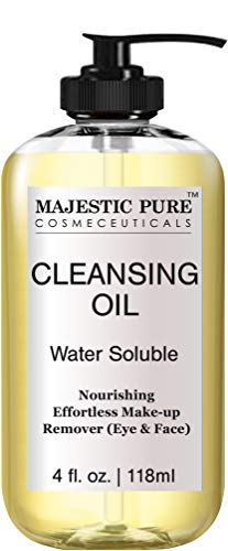 MAJESTIC PURE Cleansing Oil - Eye and Face Makeup Remover - Nourishing, Water Soluble Deep Facial Cleanser - Promotes Natural Skin Care - 4 fl oz