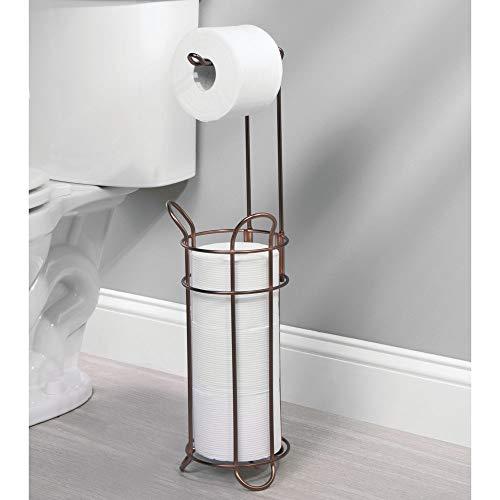 Porta rollos de pie con capacidad para 4 rollos de papel higi/énico bronce Elegante dispensador de papel higi/énico de metal resistente mDesign Portarrollos de papel higi/énico autoportante