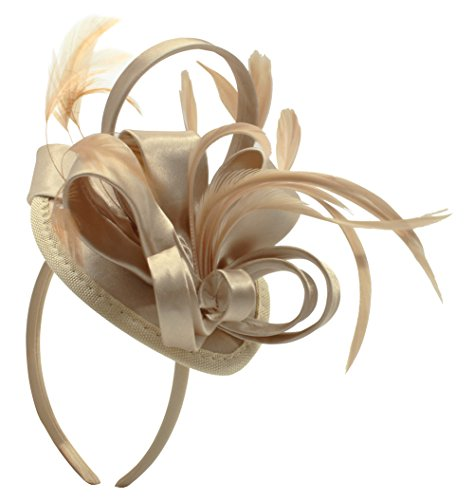 Felizhouse Fascinator Hats For Women Feather Cocktail Party Hats Bridal Kentucky Derby Headband, #1 Satin Light Khaki, One -