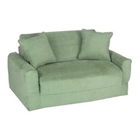 Fun Furnishings Sofa Sleeper, Green Micro Suede