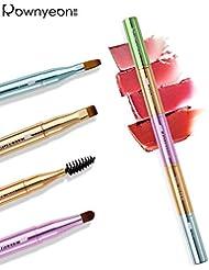 Rownyeon Multifunction Portable Lip Brush,Eyebrow Brush,Eyelashes Brush,Eye Shadow Brush, 4 in1 Travel Makeup Brush with Cap for Women Girls Christmas Gift