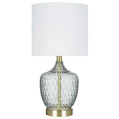 - Catalina Lighting 21485-001 Transitional Textured Clear Glass Accent Table Lamp with Linen Shade, LED Bulb Included, 18