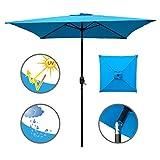ABBLE Outdoor Patio Umbrella 6.5 Ft Square with Tilt and Crank, Weather Resistant, UV Protective Umbrella, Durable, 6 Sturdy Steel Ribs, Market Outdoor Table Umbrella, Aqua