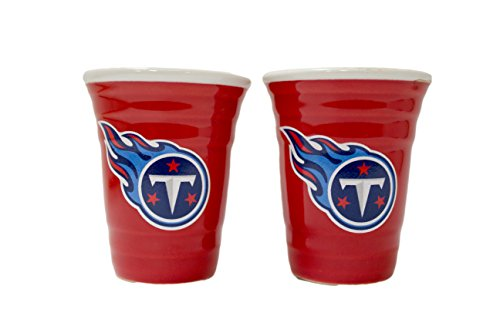 Tennessee Titans 2 oz Red Tailgater Ceramic Shot Glass 2pk (Nfl Ceramic Titans Tennessee)
