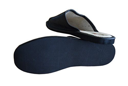 Herren Black Größe 39 Naturleder 5 Schwarz 2 aus Hausschuhe für Pantoletten qnUtx61Ow