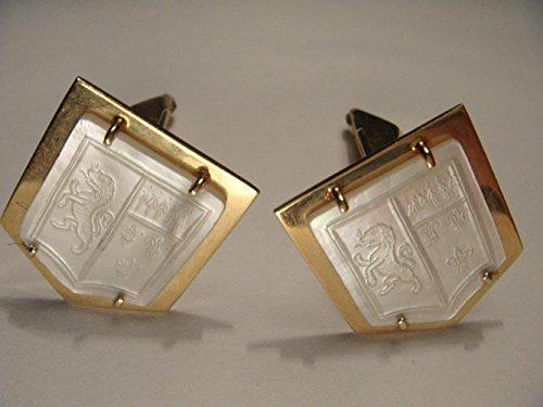 14K Gold MOP Etched Coat of Arms Toscano Crest Lion Fleur-de-Lis Mens Cufflinks - Lis Cufflinks Cufflinks