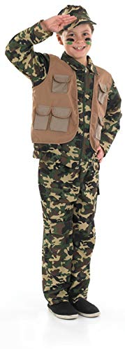 Boys Army Costume Childrens Camo Military Soldier Camouflage Uniform - -