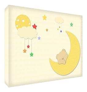 Feel Good Art bearmoon1216–15de Lienzo joyas en oso con luna, 40x 30cm, multicolor