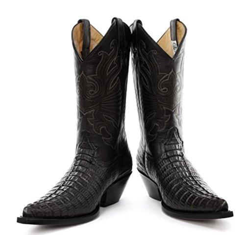 Grinders Botas de cuero para hombre real Croc vaquero - Carolina Negro