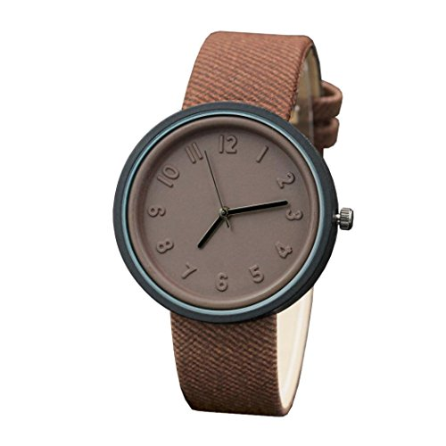Price comparison product image Start Unisex Simple Number Watches Comfortable Canvas Belt Wrist Watch Bracelet (Coffee)