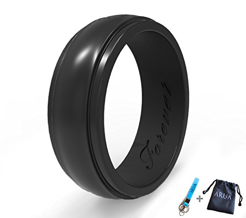 (Arua Elegant Glossy Silicone Wedding Ring (Band) for Women. Thin, Comfortable, Durable. Gift Bag and Silicone Keychain Included - 6mm Wide. 1.75mm Thick - Black, Pink, Teal)