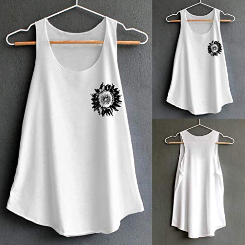2019 Shirts Clearance ! Women's Print Vest Casual Loose Top Sleeveless Tank Sport Pullover Tunic -