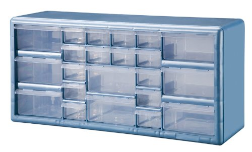Amazing Stack On DSLB 22 22 Bin Plastic Drawer Parts Storage Organizer Cabinet,  Light Blue     Amazon.com