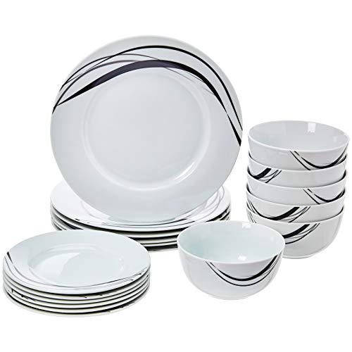 AmazonBasics 18-Piece Kitchen Dinnerware Set, Dishes, Bowls, Service for 6, Half Moon