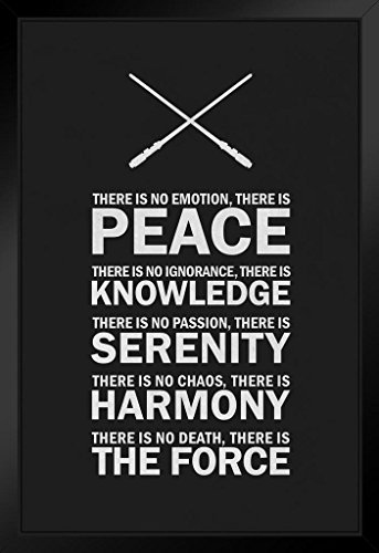 The Jedi Code Black and White Motivational Art Print Framed Poster 14x20 inch