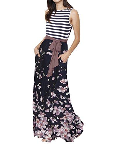 Bigyonger Womens Sleeveless Striped Patchwork Floral Print Tie Waist Maxi Long Dress with ()