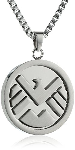 Marvel Comics Unisex Shield Logo Stainless Steel Chain Pendant Necklace, - Shield Logo Pendant