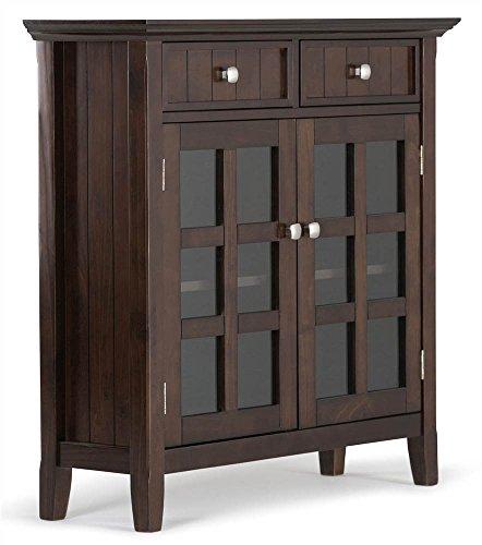simpli home acadian solid wood entryway storage cabinet, tobacco brown