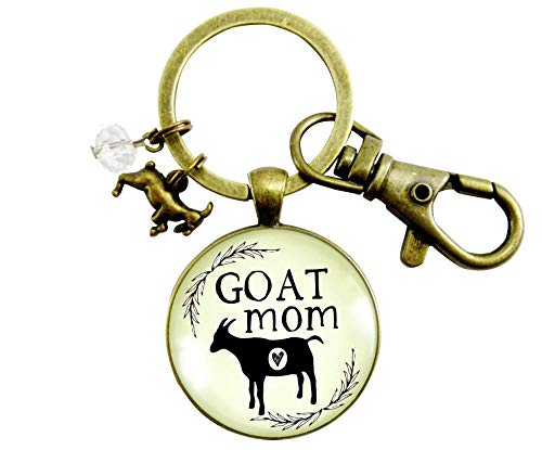 Goat Keychain Goat Mom Baby Farm Animal Vintage Inspired Jewelry For Mama Farmhouse Charm Gifts For Women
