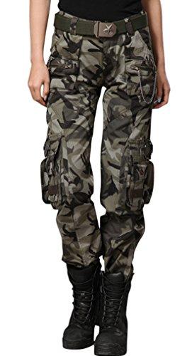 chouyatou Women's Casual Camouflage Multi Pockets Cargo Pants (Medium, 58Camo)